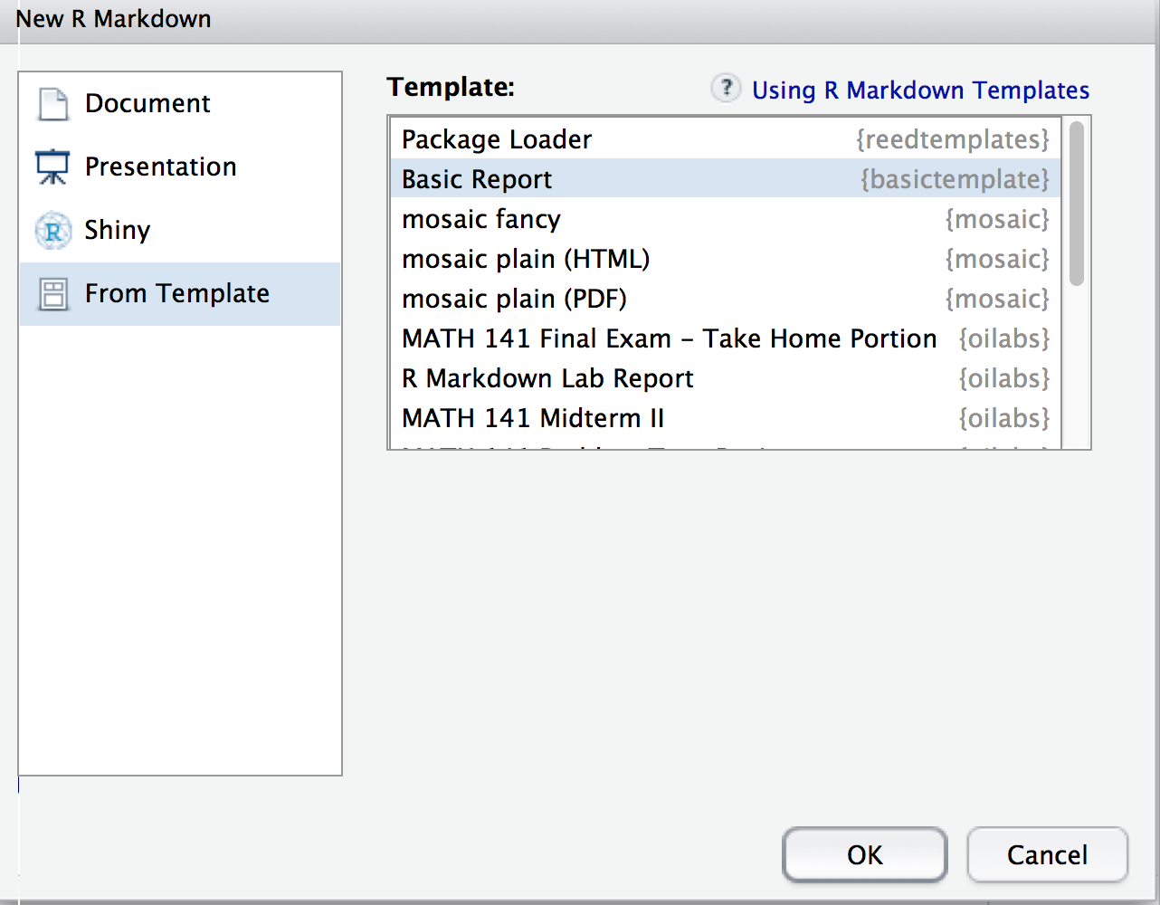 creating a basic template package in r